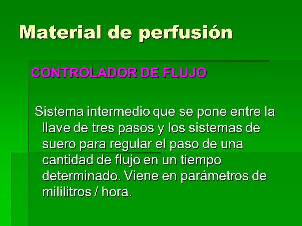 Material de perfusión CONTROLADOR DE FLUJO Sistema intermedio que se pone entre la llave de tres pasos y los sistemas de suero para regular el paso de