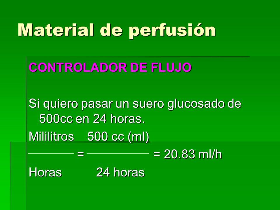 Material de perfusión CONTROLADOR DE FLUJO Si quiero pasar un suero glucosado de 500cc en 24 horas. Mililitros 500 cc (ml) = = 20.83 ml/h = = 20.83 ml