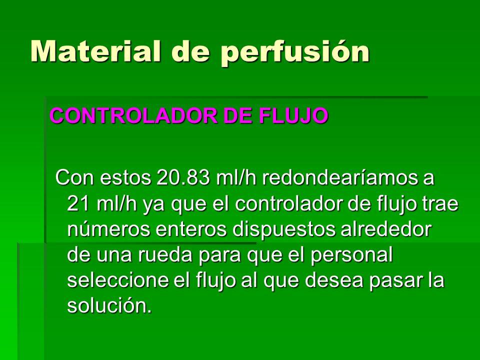 Material de perfusión CONTROLADOR DE FLUJO Con estos 20.83 ml/h redondearíamos a 21 ml/h ya que el controlador de flujo trae números enteros dispuesto