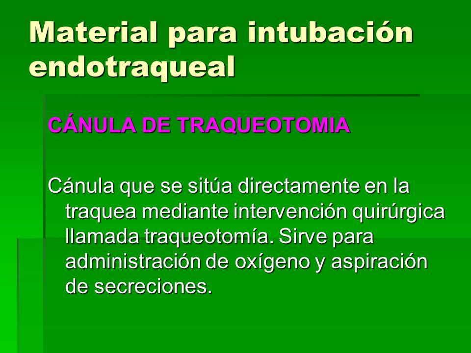 Material para intubación endotraqueal CÁNULA DE TRAQUEOTOMIA Cánula que se sitúa directamente en la traquea mediante intervención quirúrgica llamada t