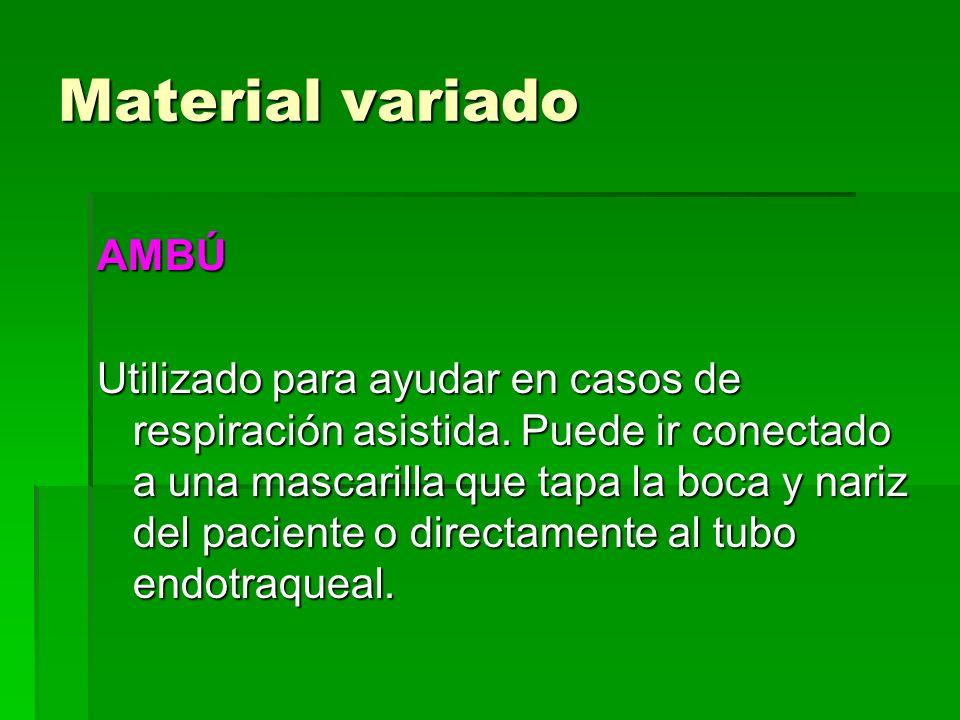 Material variado AMBÚ Utilizado para ayudar en casos de respiración asistida. Puede ir conectado a una mascarilla que tapa la boca y nariz del pacient