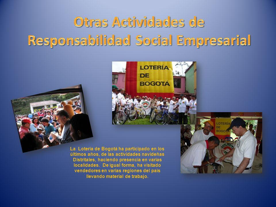 La Lotería de Bogotá ha participado en los últimos años, de las actividades navideñas Distritales, haciendo presencia en varias localidades.
