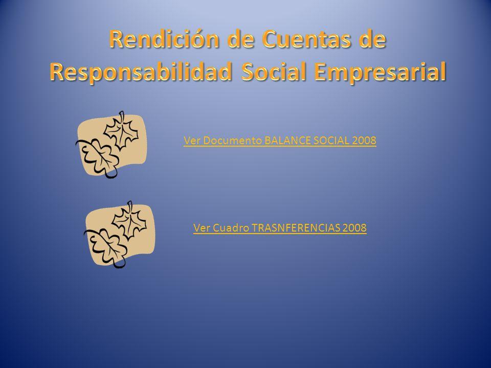 Ver Documento BALANCE SOCIAL 2008 Ver Cuadro TRASNFERENCIAS 2008