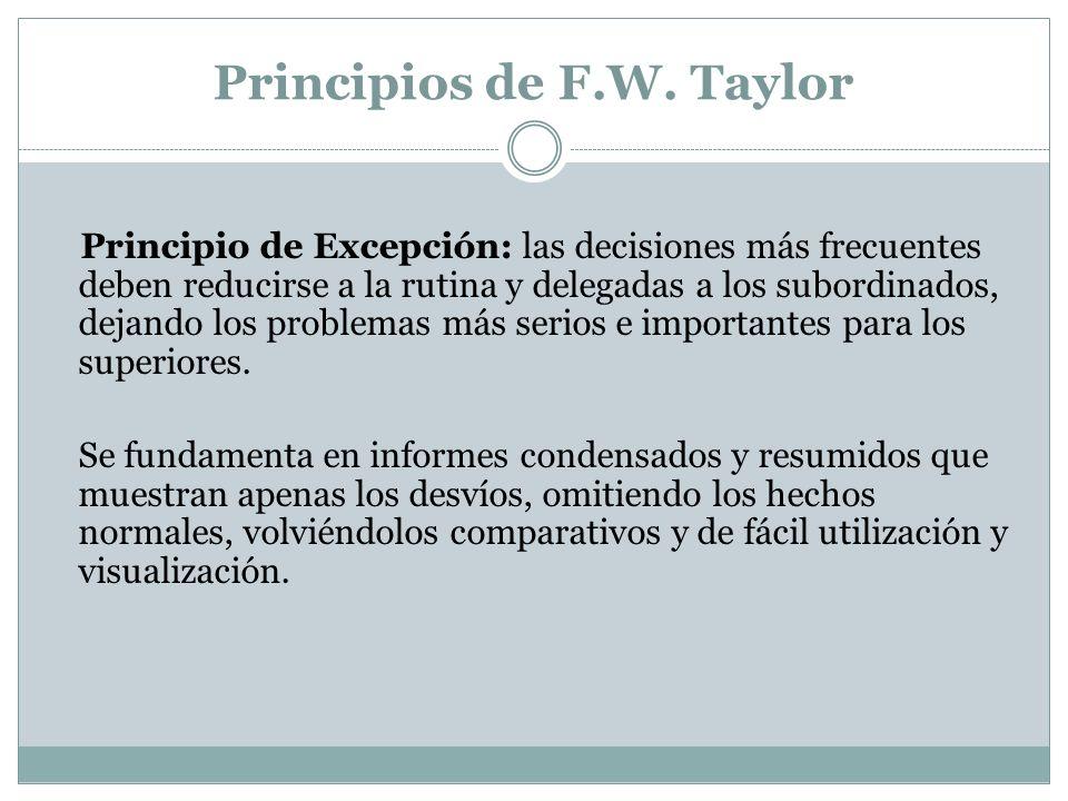 Principios de F.W. Taylor Principio de Excepción: las decisiones más frecuentes deben reducirse a la rutina y delegadas a los subordinados, dejando lo