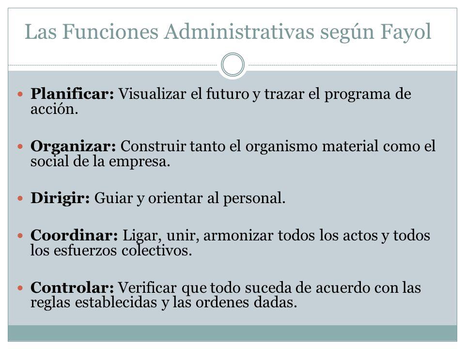 Planificar: Visualizar el futuro y trazar el programa de acción. Organizar: Construir tanto el organismo material como el social de la empresa. Dirigi