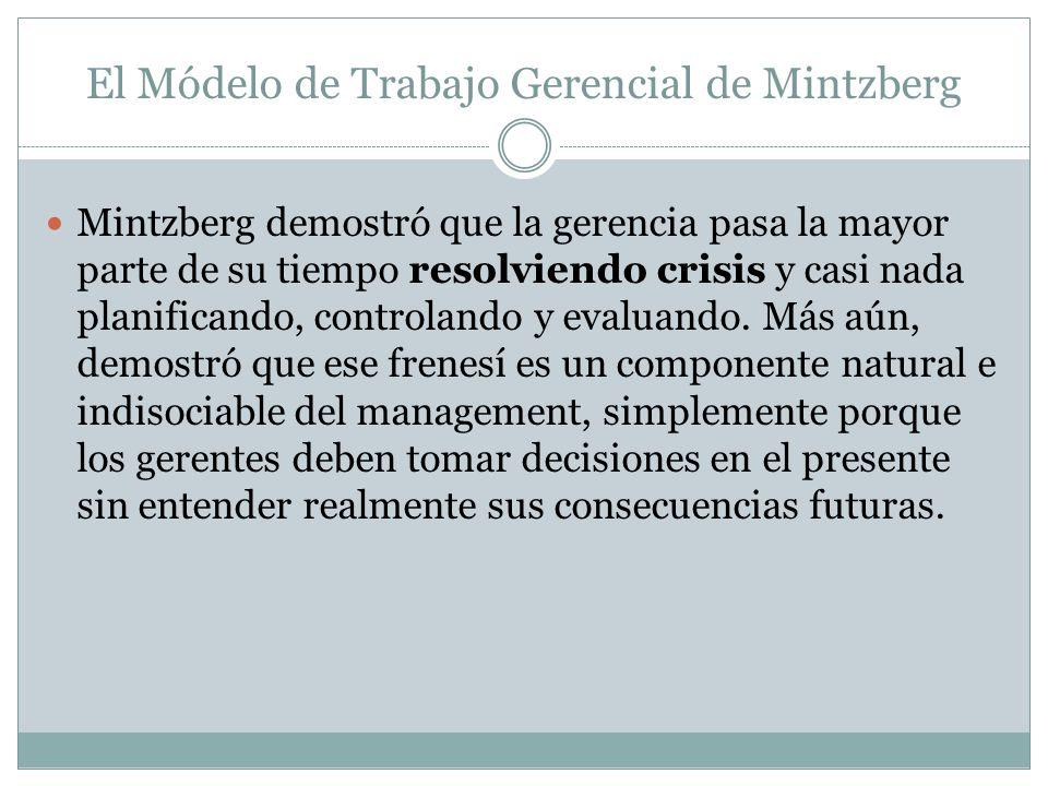 El Módelo de Trabajo Gerencial de Mintzberg Mintzberg demostró que la gerencia pasa la mayor parte de su tiempo resolviendo crisis y casi nada planifi
