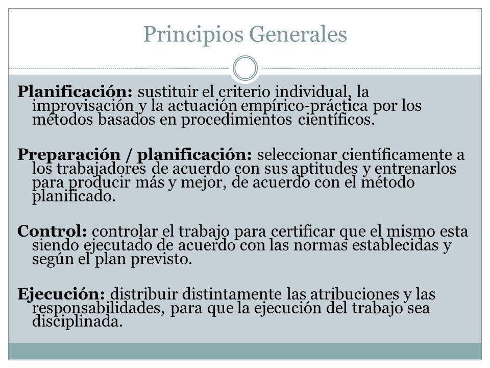 Principios Generales Planificación: sustituir el criterio individual, la improvisación y la actuación empírico-práctica por los métodos basados en pro