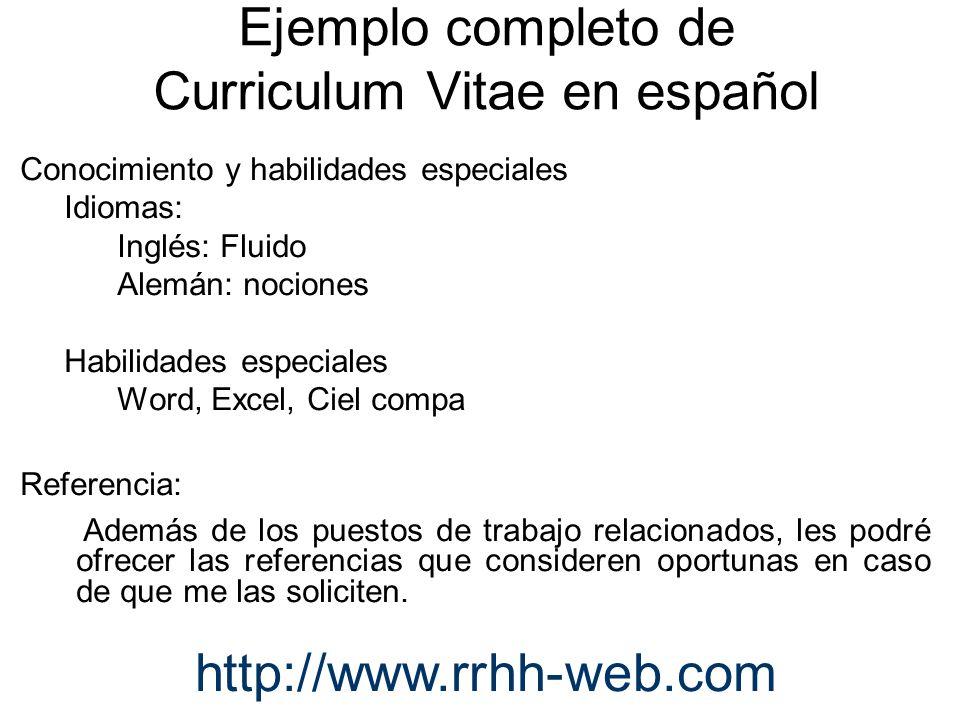 Currículum vitae en inglés http://www.rrhh-web.com
