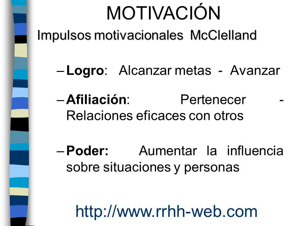 –Logro: Alcanzar metas - Avanzar –Afiliación: Pertenecer - Relaciones eficaces con otros –Poder: Aumentar la influencia sobre situaciones y personas M