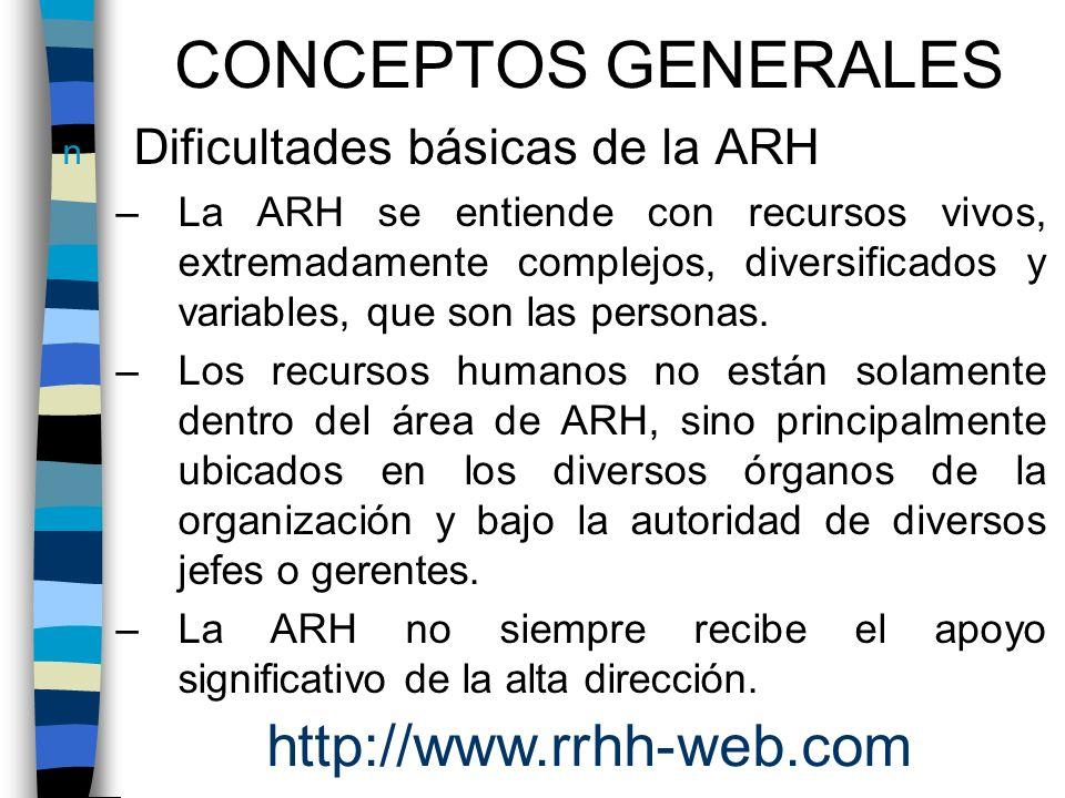 n Dificultades básicas de la ARH –La ARH se entiende con recursos vivos, extremadamente complejos, diversificados y variables, que son las personas. –