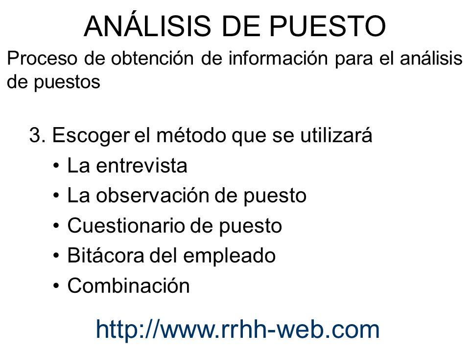 3. Escoger el método que se utilizará La entrevista La observación de puesto Cuestionario de puesto Bitácora del empleado Combinación ANÁLISIS DE PUES
