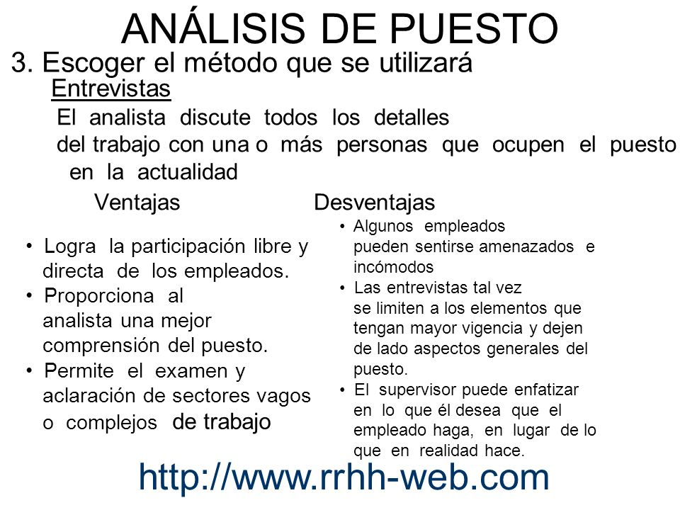 Entrevistas El analista discute todos los detalles del trabajo con una o más personas que ocupen el puesto en la actualidad Ventajas Desventajas Logra