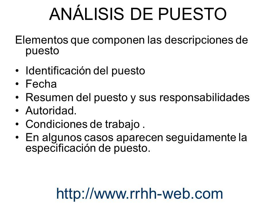 Elementos que componen las descripciones de puesto Identificación del puesto Fecha Resumen del puesto y sus responsabilidades Autoridad. Condiciones d