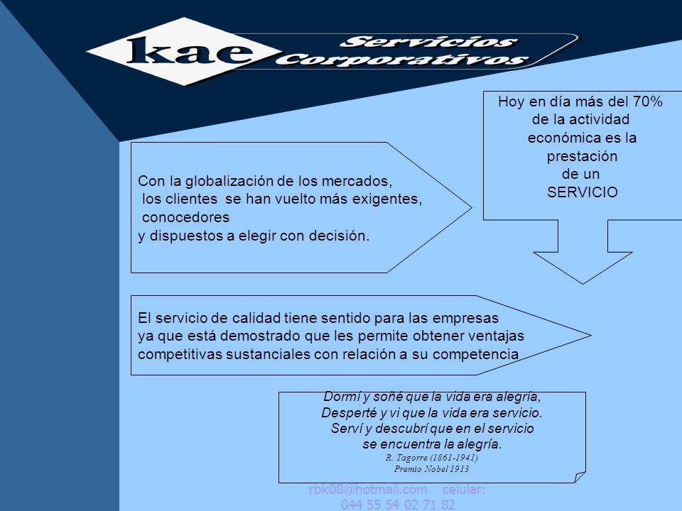 Inseparabilidad Imperdurabilidad CARACTERÍSTICAS DEL SERVICIO Intangibilidad rbk08@hotmail.com celular: 044 55 54 02 71 82