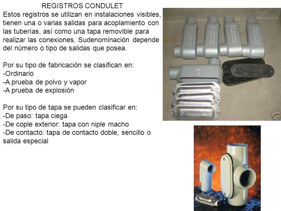 REGISTROS CONDULET Estos registros se utilizan en instalaciones visibles, tienen una o varias salidas para acoplamiento con las tuberías, así como una