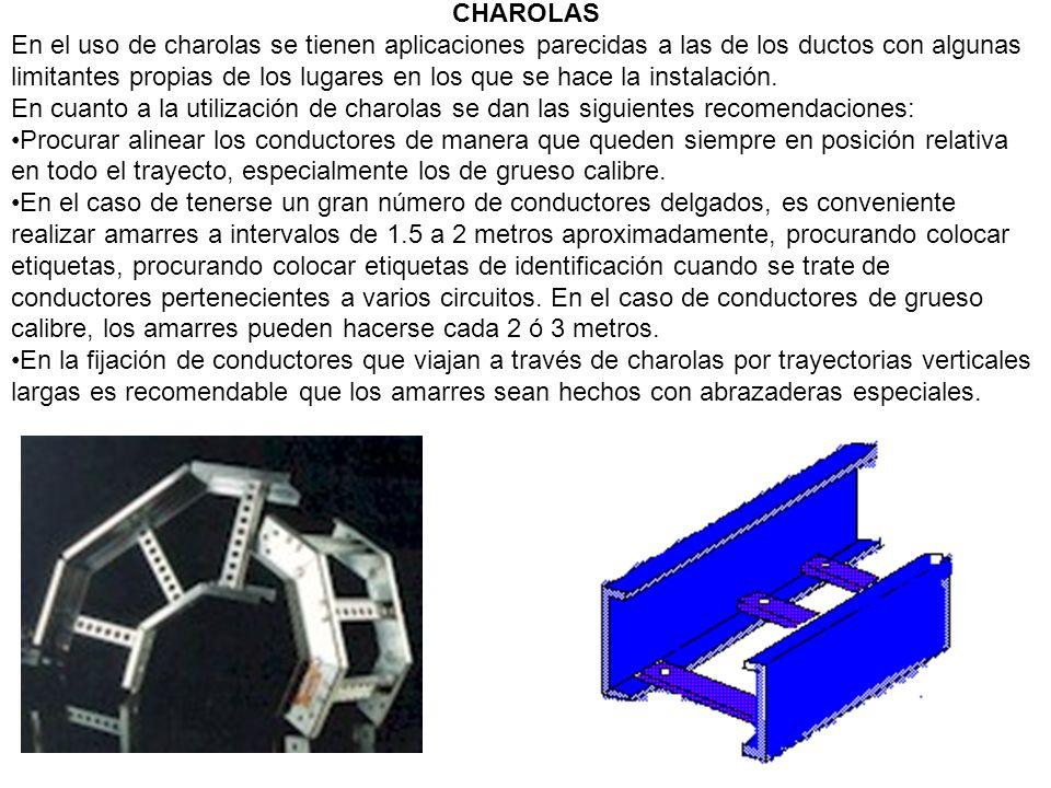 CHAROLAS En el uso de charolas se tienen aplicaciones parecidas a las de los ductos con algunas limitantes propias de los lugares en los que se hace l