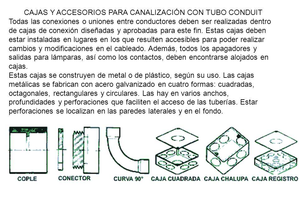 DIMENSIONES DE CAJAS DE CONEXIÓN TIPO RECTANGULAR (CHALUPAS): 6 X 10 cms de base y 3.8 cms de profundidad con perforaciones para tubería conduit de 13 mm.