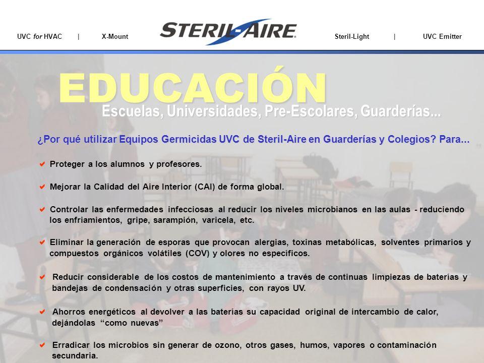 UVC for HVAC | X-Mount Steril-Light | UVC Emitter EDUCACIÓN Escuelas, Universidades, Pre-Escolares, Guarderías... Proteger a los alumnos y profesores.