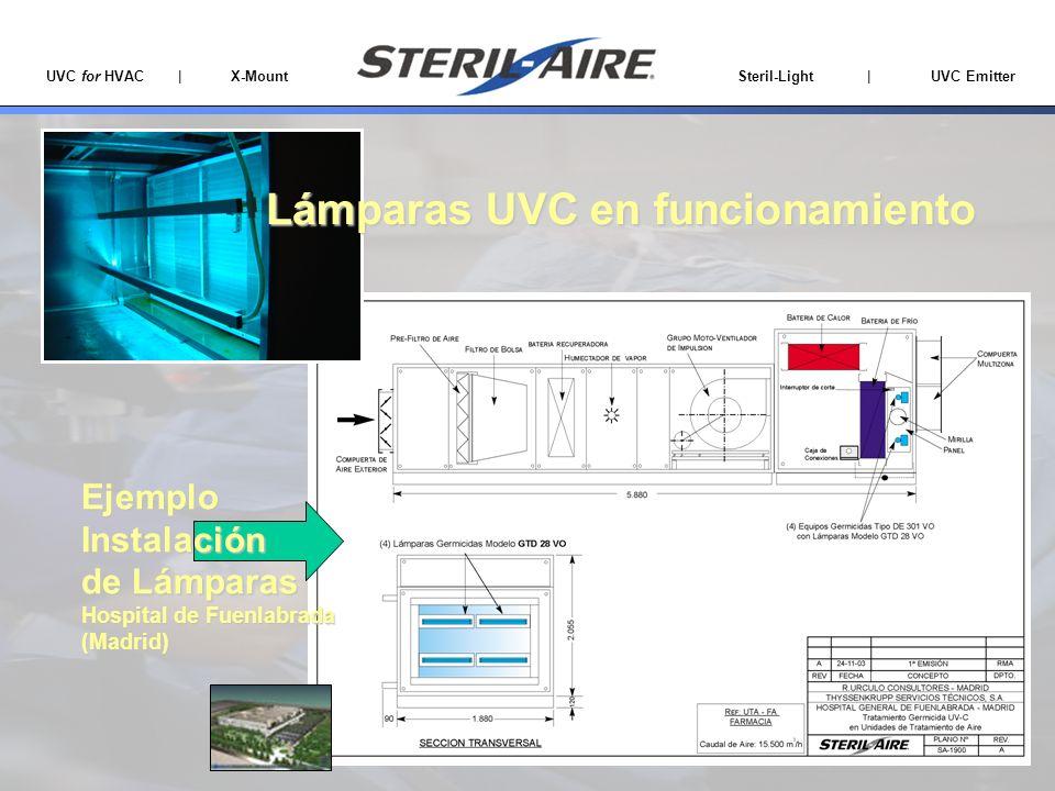 UVC for HVAC | X-Mount Steril-Light | UVC Emitter EjemploInstalación de Lámparas Hospital de Fuenlabrada (Madrid) Lámparas UVC en funcionamiento