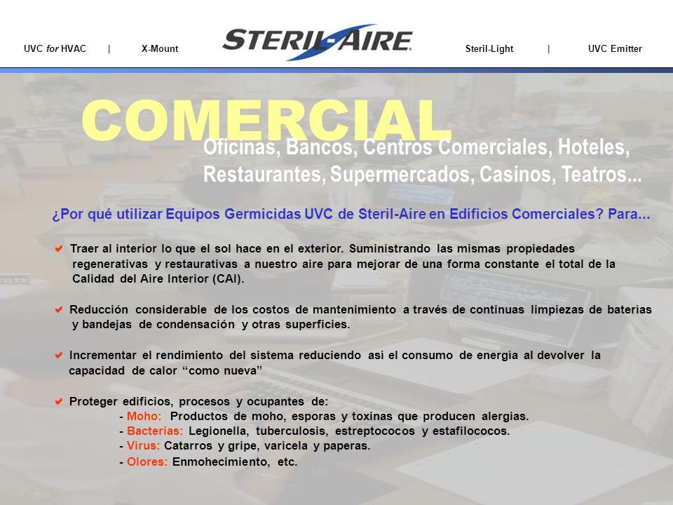 UVC for HVAC | X-Mount Steril-Light | UVC Emitter COMERCIAL Oficinas, Bancos, Centros Comerciales, Hoteles, Restaurantes, Supermercados, Casinos, Teat
