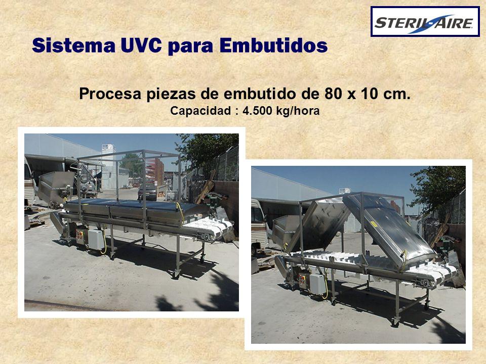 Sistema UVC para Embutidos Procesa piezas de embutido de 80 x 10 cm. Capacidad : 4.500 kg/hora