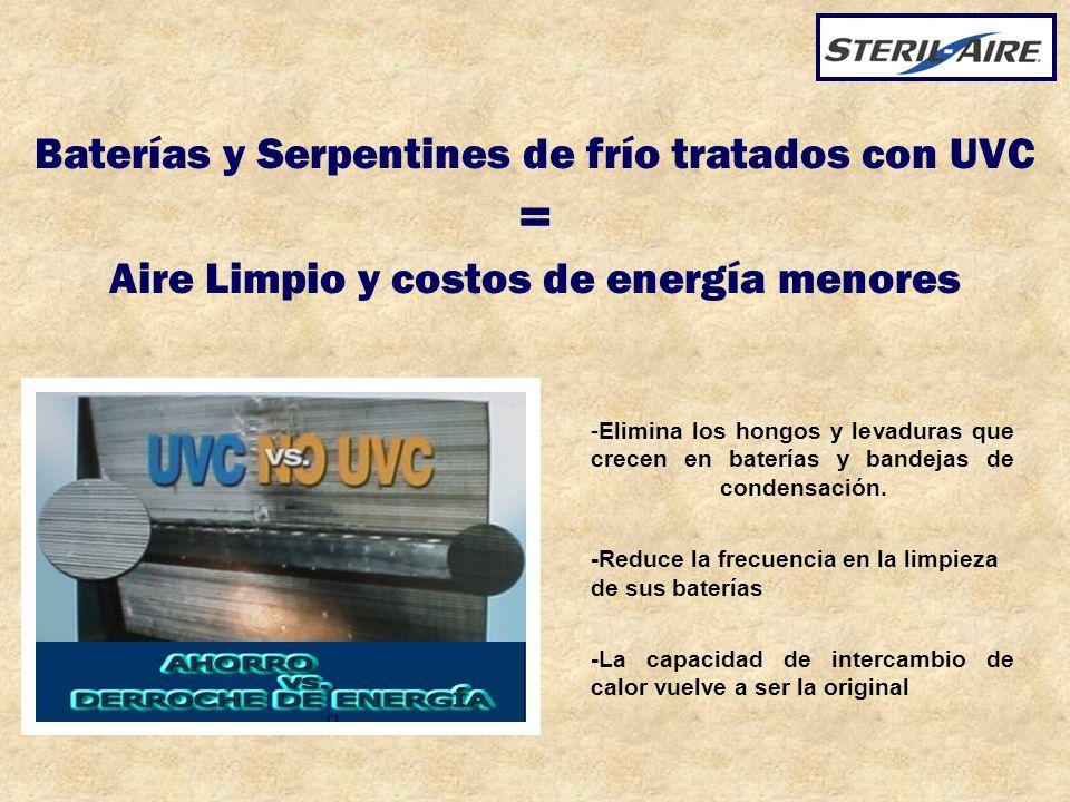 Baterías y Serpentines de frío tratados con UVC = Aire Limpio y costos de energía menores -Elimina los hongos y levaduras que crecen en baterías y ban