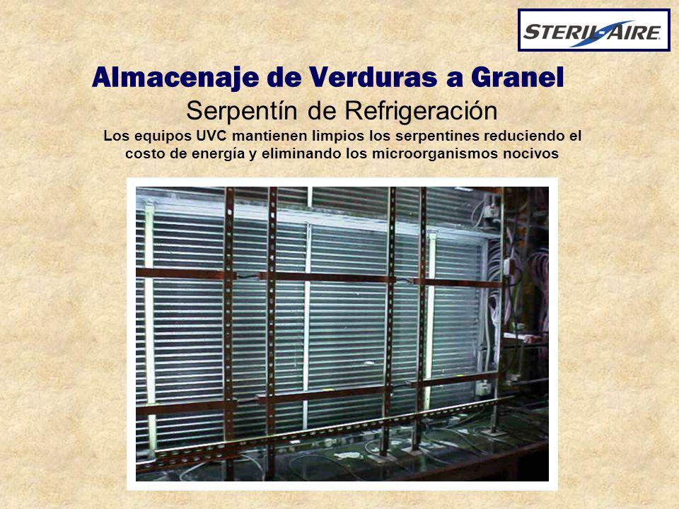 Almacenaje de Verduras a Granel Serpentín de Refrigeración Los equipos UVC mantienen limpios los serpentines reduciendo el costo de energía y eliminan
