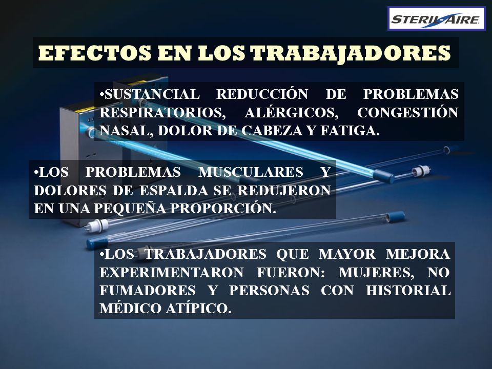 EFECTOS EN LOS TRABAJADORES LOS PROBLEMAS MUSCULARES Y DOLORES DE ESPALDA SE REDUJERON EN UNA PEQUEÑA PROPORCIÓN. LOS TRABAJADORES QUE MAYOR MEJORA EX