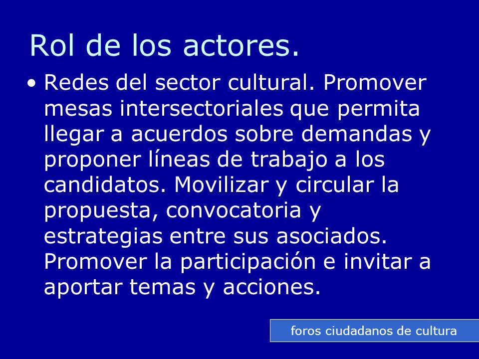 Rol de los actores. Redes del sector cultural.