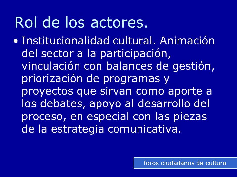 Rol de los actores. Institucionalidad cultural.