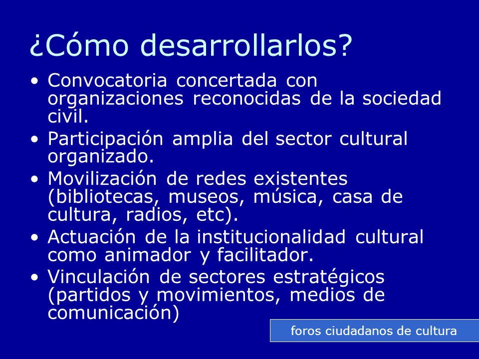 ¿Cómo desarrollarlos. Convocatoria concertada con organizaciones reconocidas de la sociedad civil.