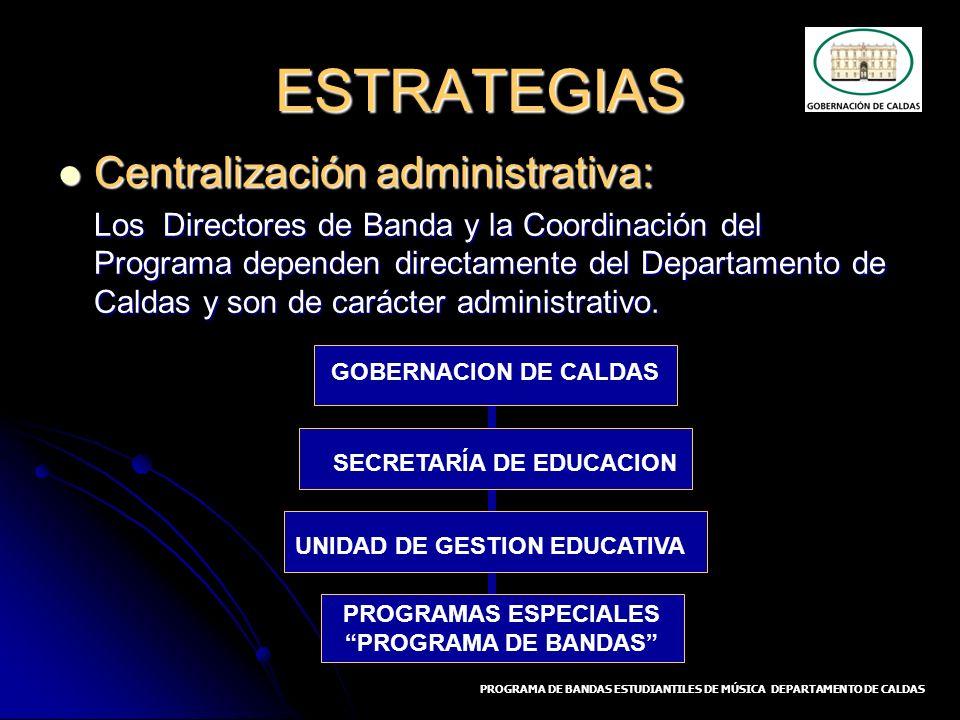 ESTRATEGIAS Centralización administrativa: Centralización administrativa: Los Directores de Banda y la Coordinación del Programa dependen directamente