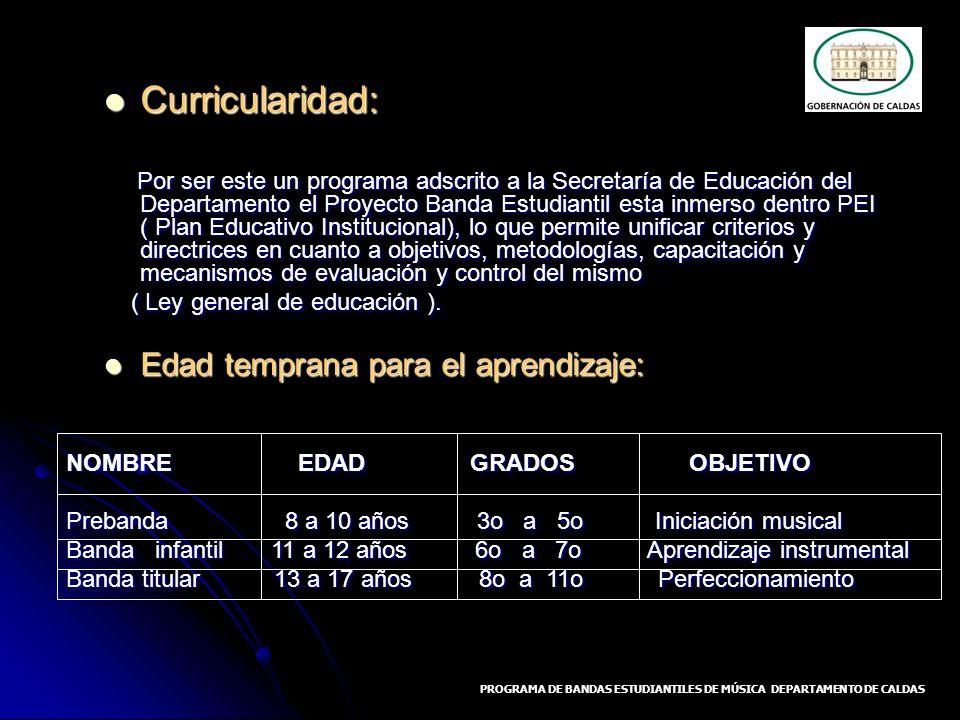 Curricularidad: Curricularidad: Por ser este un programa adscrito a la Secretaría de Educación del Departamento el Proyecto Banda Estudiantil esta inm