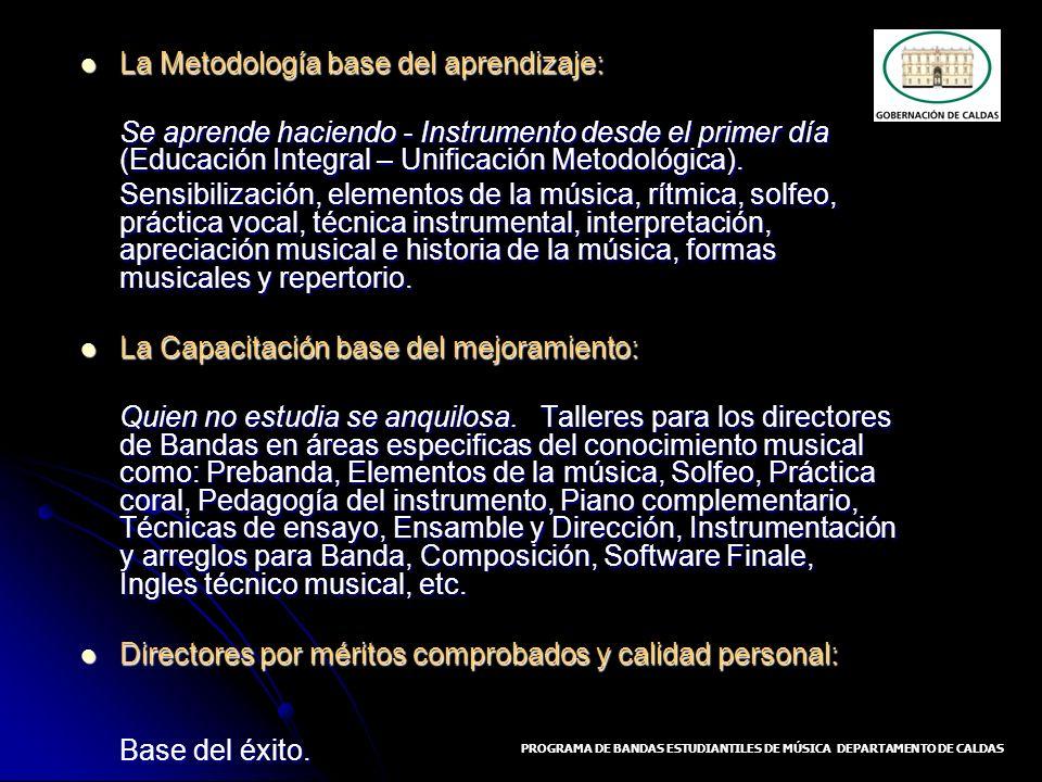 La Metodología base del aprendizaje: La Metodología base del aprendizaje: Se aprende haciendo - Instrumento desde el primer día (Educación Integral –