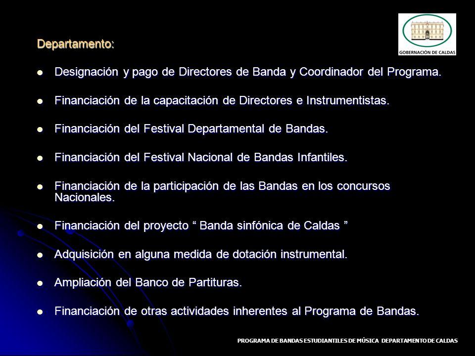 Departamento: Designación y pago de Directores de Banda y Coordinador del Programa. Designación y pago de Directores de Banda y Coordinador del Progra
