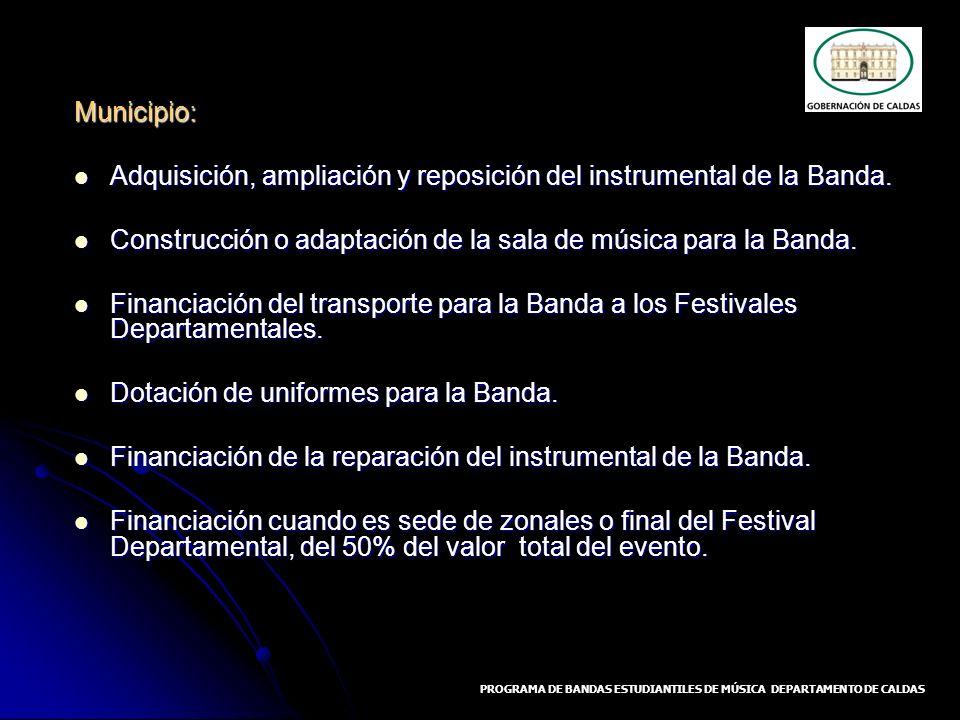 Municipio: Adquisición, ampliación y reposición del instrumental de la Banda. Adquisición, ampliación y reposición del instrumental de la Banda. Const