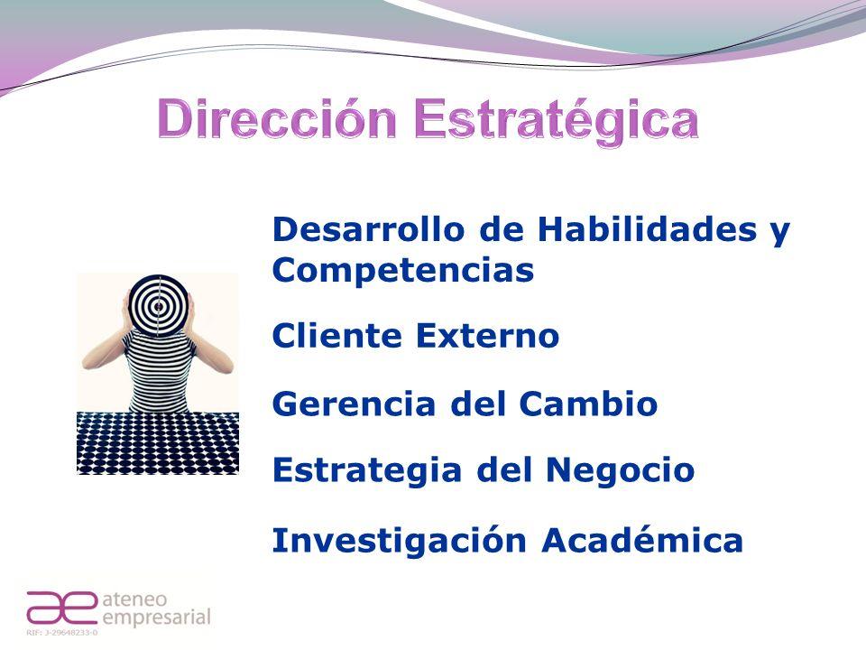Desarrollo de Habilidades y Competencias Cliente Externo Gerencia del Cambio Estrategia del Negocio Investigación Académica