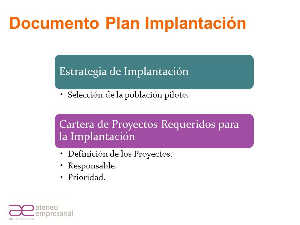 Estrategia de Implantación Selección de la población piloto. Cartera de Proyectos Requeridos para la Implantación Definición de los Proyectos. Respons