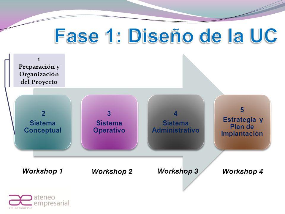 2 Sistema Conceptual 3 Sistema Operativo 4 Sistema Administrativo 5 Estrategia y Plan de Implantación 1 Preparación y Organización del Proyecto Worksh