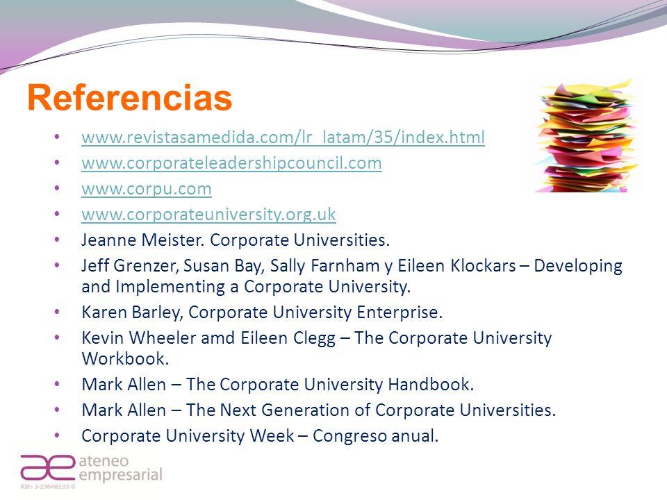 Referencias www.revistasamedida.com/lr_latam/35/index.html www.corporateleadershipcouncil.com www.corpu.com www.corporateuniversity.org.uk Jeanne Meis