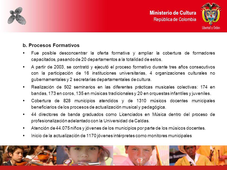 Ministerio de Cultura República de Colombia b. Procesos Formativos Fue posible desconcentrar la oferta formativa y ampliar la cobertura de formadores