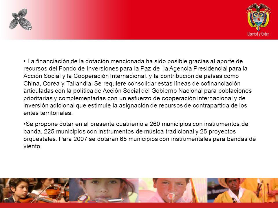 La financiación de la dotación mencionada ha sido posible gracias al aporte de recursos del Fondo de Inversiones para la Paz de la Agencia Presidencia