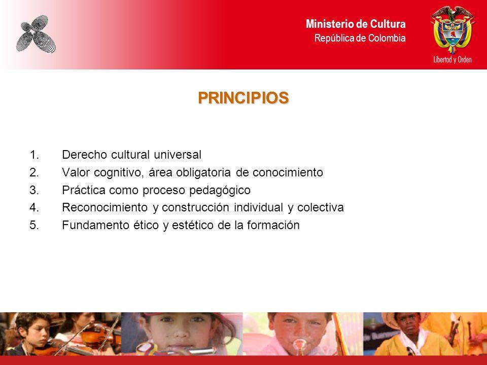 PRINCIPIOS 1.Derecho cultural universal 2.Valor cognitivo, área obligatoria de conocimiento 3.Práctica como proceso pedagógico 4.Reconocimiento y cons