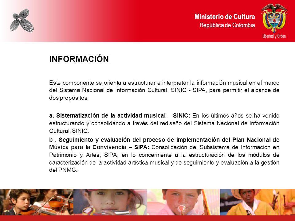 Ministerio de Cultura República de Colombia INFORMACIÓN Este componente se orienta a estructurar e interpretar la información musical en el marco del