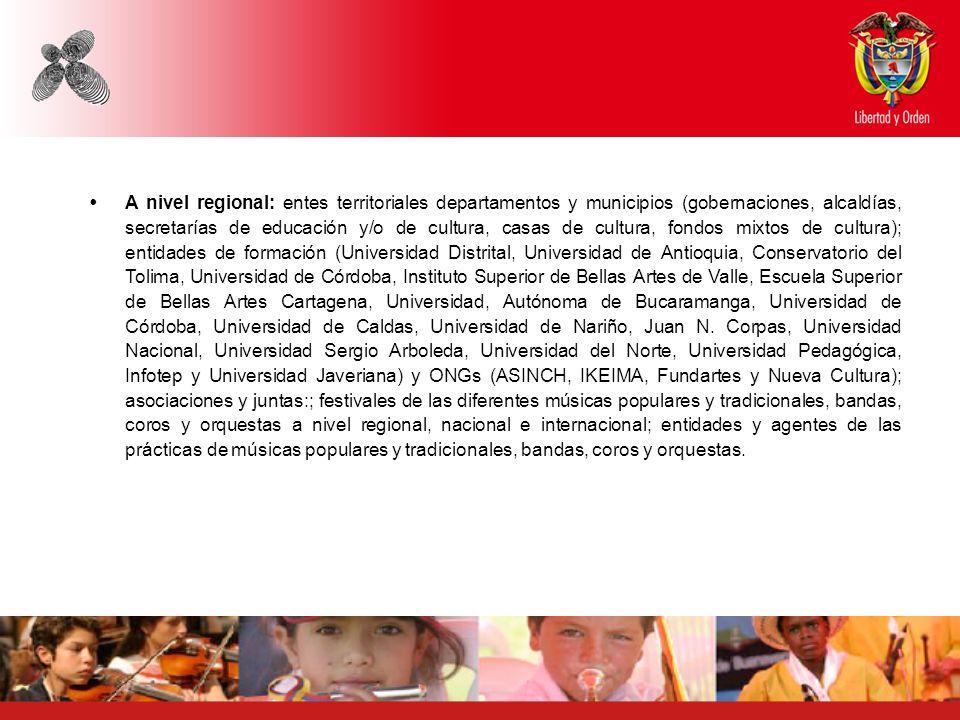 A nivel regional: entes territoriales departamentos y municipios (gobernaciones, alcaldías, secretarías de educación y/o de cultura, casas de cultura,