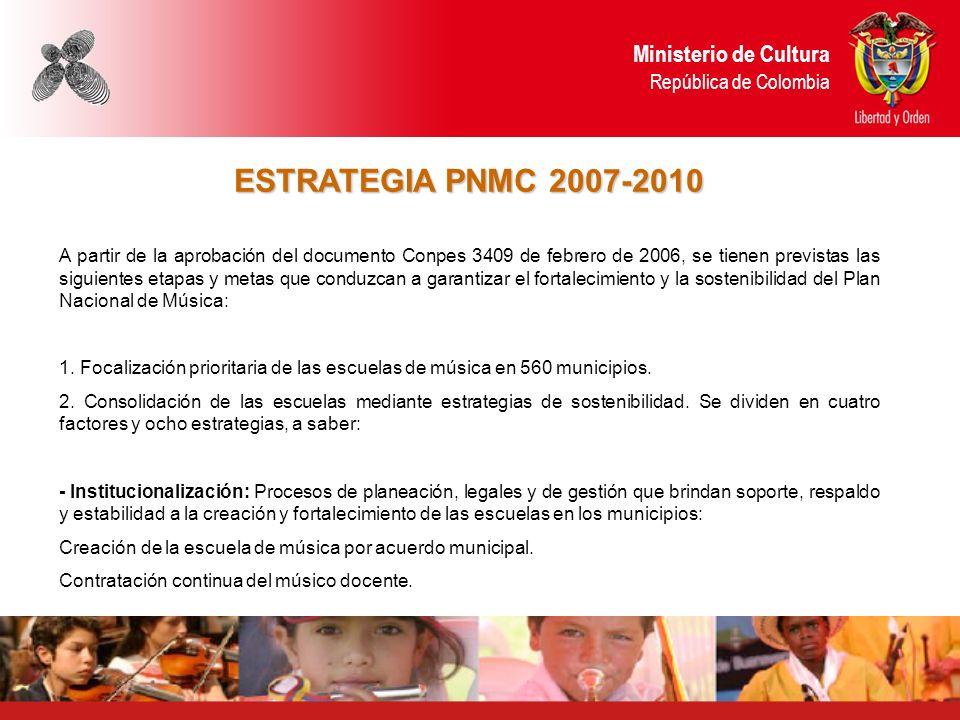ESTRATEGIA PNMC 2007-2010 A partir de la aprobación del documento Conpes 3409 de febrero de 2006, se tienen previstas las siguientes etapas y metas qu