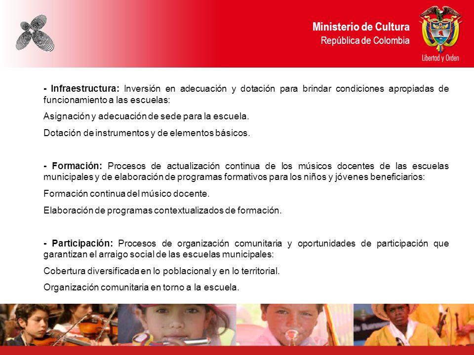 Ministerio de Cultura República de Colombia - Infraestructura: Inversión en adecuación y dotación para brindar condiciones apropiadas de funcionamient