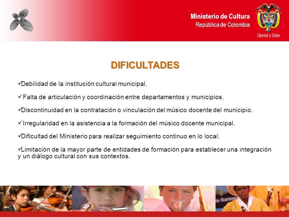 DIFICULTADES Debilidad de la institución cultural municipal. Falta de articulación y coordinación entre departamentos y municipios. Discontinuidad en