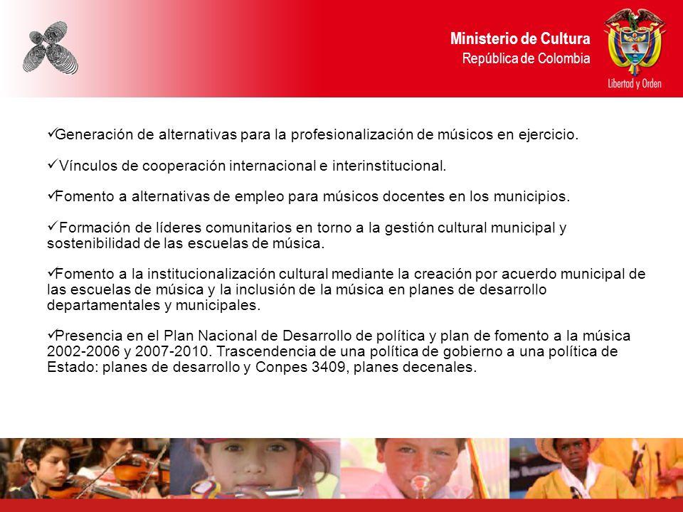 Generación de alternativas para la profesionalización de músicos en ejercicio. Vínculos de cooperación internacional e interinstitucional. Fomento a a