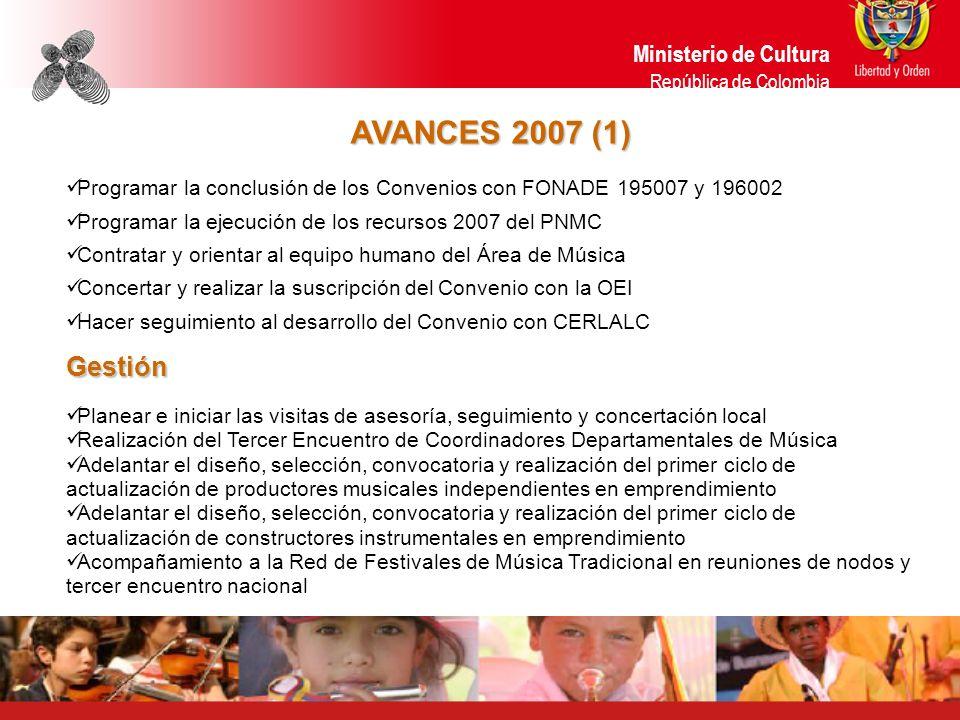 AVANCES 2007 (1) Programar la conclusión de los Convenios con FONADE 195007 y 196002 Programar la ejecución de los recursos 2007 del PNMC Contratar y